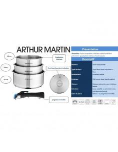 ARTHUR MARTIN Set de 3 poeles 20//24//26 cm 1 poign/ée gris
