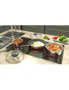 ROYALTY LINE Batterie de cuisine 14 pieces - Revetement marbre - Rouge