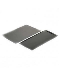 Lot de 3 plateaux rectangulaires jetables en carton 28x42 cm argent